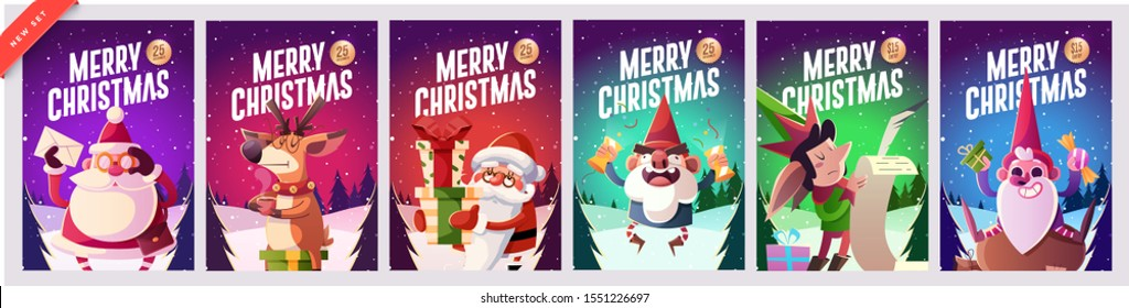 Set of Merry Christmas and Happy new Year greeting cards design with Christmas characters. Vector illustration