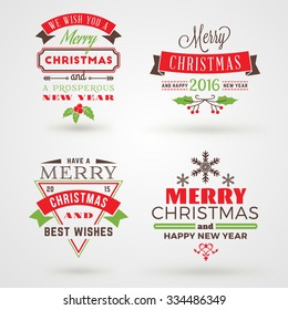Set of Merry Christmas and Happy New Year Decorative Badges or Labels for Greetings Cards. Vector Illustration in Red, Green and Brown Colors and Shadows