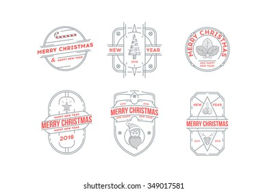 Set of Merry Christmas and Happy New Year Line Badges . Stock vector.