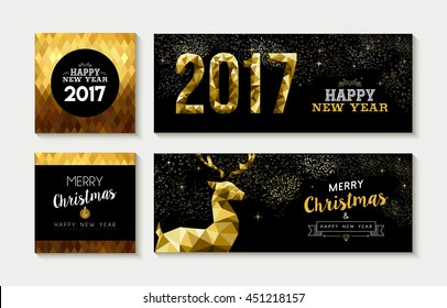 Set of merry christmas happy new year 2017 gold designs with deer elements. Ideal for xmas greeting card, holiday invitation, social media banner. EPS10 vector.