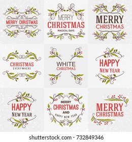Set of Merry Christmas and Happy New Year Decorative Badges for Greetings Cards or Invitations. Vector Illustration. Typographic Design Elements. Red, Green and Brown Color Theme