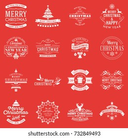 Set of Merry Christmas and Happy New Year decorative badges for greetings cards or invitations. Typographic vector design elements