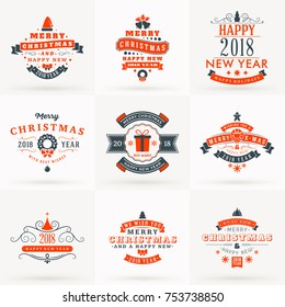 Set of Merry Christmas and Happy New Year Decorative Badges for Greetings Cards or Invitations. Vector Illustration in Red and Gray Colors