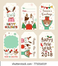 Set of merry christmas and happy new year 2018 gift tags and cards. Cute cartoon rabbit, cat and dog smiling, celebrating. Flat design. Colored vector illustration.
