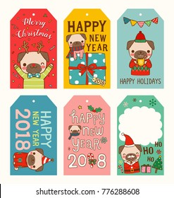 Set of merry christmas and happy new year 2018 gift tags and cards. Year of dog. Cute cartoon pug smiling, celebrating. Flat design. Colored vector illustration.