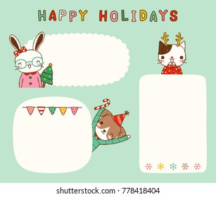 Set of merry christmas and happy new year, empty message board, cards, paper note, copy space for text. Cute animals including dog, cat and rabbit with frame. Flat design. Colored vector illustration.