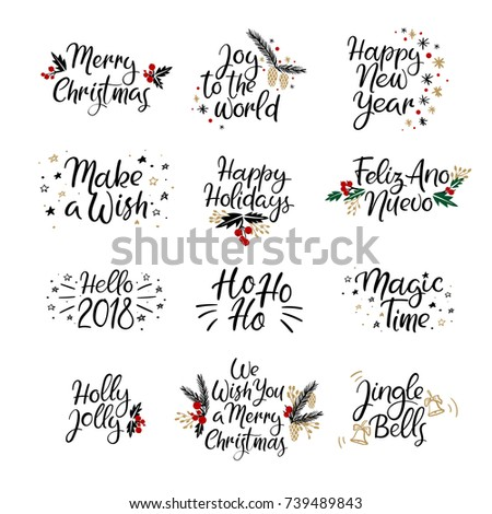 Set Merry Christmas Happy New Year Stock Vector (Royalty Free ...