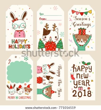 Set Merry Christmas Happy New Year Stock-Vektorgrafik (Lizenzfrei ...