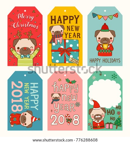 set of merry christmas and happy new year 2018 gift tags and cards year of