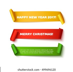 Set of Merry christmas and HNY red, green, gold realistic curved paper roll ribbon banner isolated on white background. Detailed New year 2017 and Xmas paper ribbon for web advertising, promo, sale