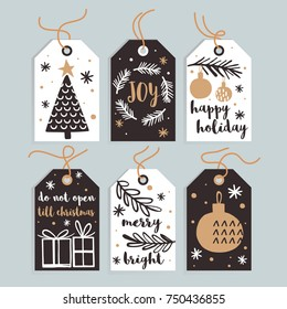 Set Merry Christmas and New Year gift tags and cards. Vector illustration