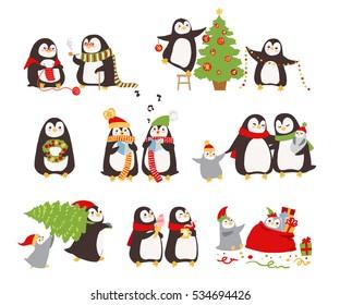 Set of merry Christmas Penguins. Vector illustration