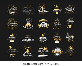 Set of Merry Christmas typography and calligraphy decorated with festival elements on black background.