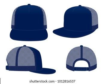 Set Mesh Blank Navy Blue Hip Hop Cap Vector With Snap Back Strap Vector.