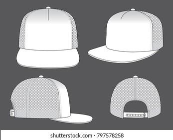 Set Mesh Blank White Hip Hop Cap Vector With Snap Back Strap Vector.