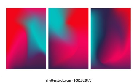 Set of mesh gradient colorful abstract vector backgrounds. Gradient design with neon colors