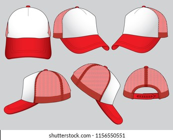 Set Mesh Trucker Baseball Cap Vector With White/Red Colors.