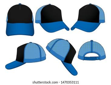 Set Mesh Trucker Baseball Cap Vector With Black/Blue Colors.