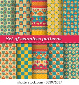 Set of Mesopotamia ornament Tribal seamless pattern. Can be used for cloth, jackets, invitation, flyers, bags, notebooks, cards, envelopes, pads, blankets, furniture, packing,