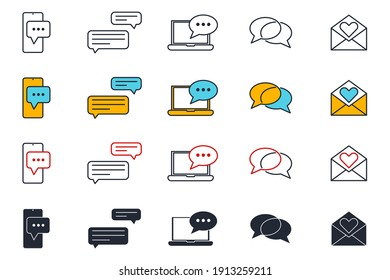 Set of Message Chat icon. SMS mail pack symbol template for graphic and web design collection logo vector illustration