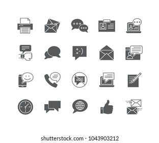 Set of Message flat icons isolated on white background.
