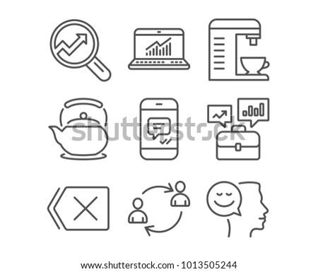 set message online statistics business portfolio stock vector