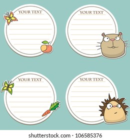 Set of message stickers with funny animals