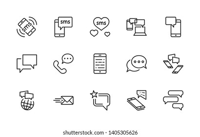 Set of Message Vector Line Free Icons. Contains such Icons as Conversation, SMS, Heart, Love Chats, Notification, Group Chat and more. Editable Stroke. 32x32 Pixel Perfect.