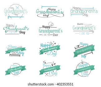 Set of messages with different icons and ribbons for grandparent's day