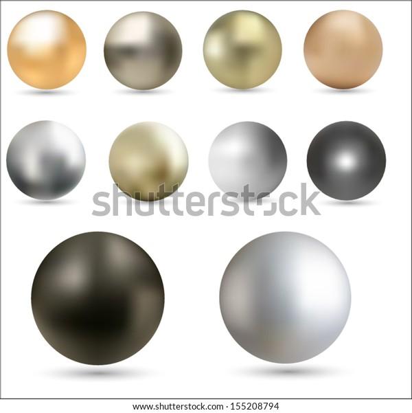 Set of metal balls. Vector eps10.