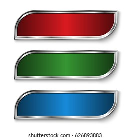 Set of metal banners. Three metal banners - green, red, blue, with rounded corners. Banners on white background. Vector illustration.
