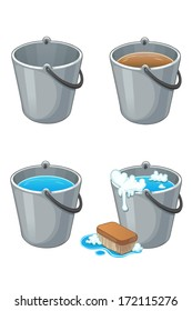 Set of metal buckets with water on white. Full and empty buckets for cleaning