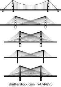 Set of metal cable suspension bridges - black vector illustrations, silhouettes, white background