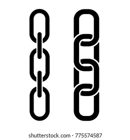 Set of metal chain, black icons. Vector illustration