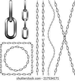 Set of metal chain, isolated on white