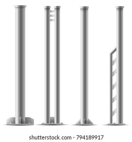Set of metal columns. Steel truss girder element. Part of Truss construction. Element of Streetlight.