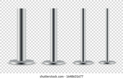 Set of metal columns.Metal pole posts,steel pipes of various diameters installed are bolted on a round base isolated on a transparent background.The steel element of the truss beam.Vector illustration