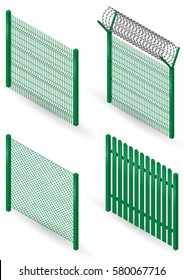 Set of metal fences, borders and walls in an isometric view. Mesh, barbed wire. Vector graphics