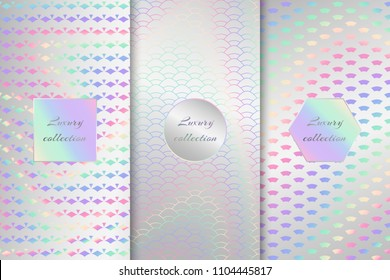 A set of metal foil with a holographic pattern. Vector illustration with neon background
