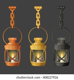 Set of metal lamps or lanterns holding on chain. Vector illustration.