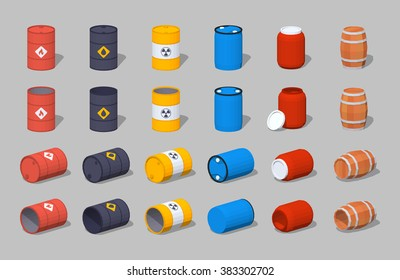 Set of the metal, plastic and wooden barrels. 3D lowpoly isometric vector illustration. The set of objects isolated against the grey background and shown from different sides