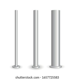 Set of metal poles with different diameters. Polish steel columns in different section shapes 3d vector street base aluminum