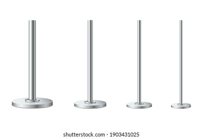 Set of metal poles with different diameters. Realistic detailed 3d metal columns. Steel pipes. Template design for urban advertising banners, billboard, streetlight. Vector illustration