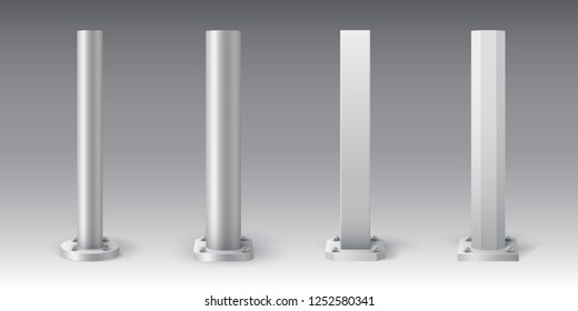Set of metal poles. Truss pillar for lighting. Element of streetlight. Steel footings for road sign, banner or billboard. Anchor base light pole.