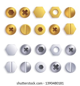 Set of metal screw, bolt and rivet heads view from above 3d realistic vector illustration isolated on white background. Collection of different decorative elements.