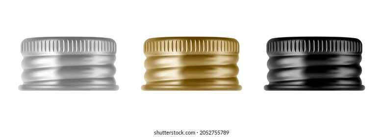 Set of metal screw cap for glass or plastic bottle. Jar lids. Realistic vector illustration isolated on white background