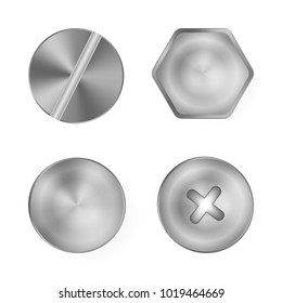 A set of metal shiny screws and bolts for use in your designs.Metal screws.Vector illustration.