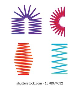 set of metal springs, flexible wire, colored spiral, elastic material, idea for your design, vector image