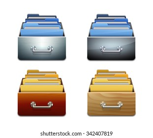 Set of metal and wooden filling cabinets with document folders. Illustrated concept of database organizing and maintaining. Vector illustration isolated on white background