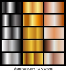 set of metallic gradients isolated on black background